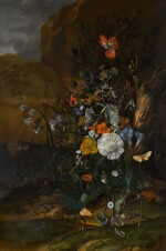 Still life of flowers, with butterflies, insects, a lizard and toads, beside a pool