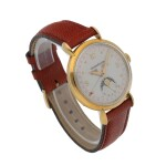 JAEGER-LECOULTRE    REF 141 008 1   YELLOW GOLD TRIPLE CALENDAR WRISTWATCH WITH MOON PHASES   CIRCA 1960