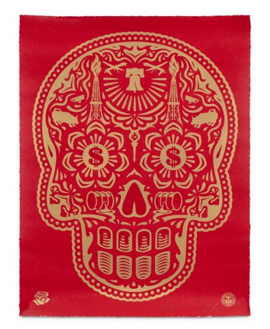 View 2. Thumbnail of Lot 553. SHEPARD FAIREY (OBEY GIANT) | POWER & GLORY DAY OF THE DEAD SKULL (RED).