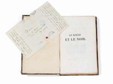 View 2. Thumbnail of Lot 176. Le Rouge et le noir. 2 vol. in-8 cartonnage de l'époque. Edition originale. Lettre de Stendhal jointe.