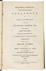 HEBER | Bibliotheca Heberiana, Catalogue of The Library of the Late Richard Heber, Esq., 1834
