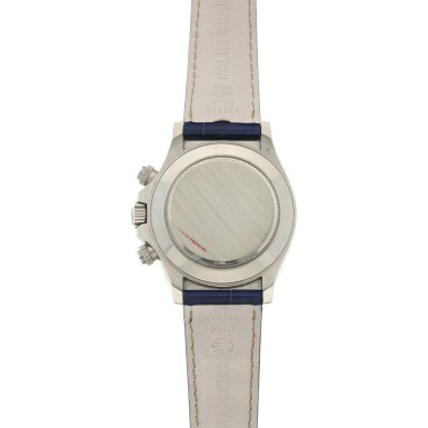 View 6. Thumbnail of Lot 9. REFERENCE 116519 DAYTONA A RARE WHITE GOLD AUTOMATIC CHRONOGRAPH WRISTWATCH WITH SODALITE DIAL, CIRCA 2002.