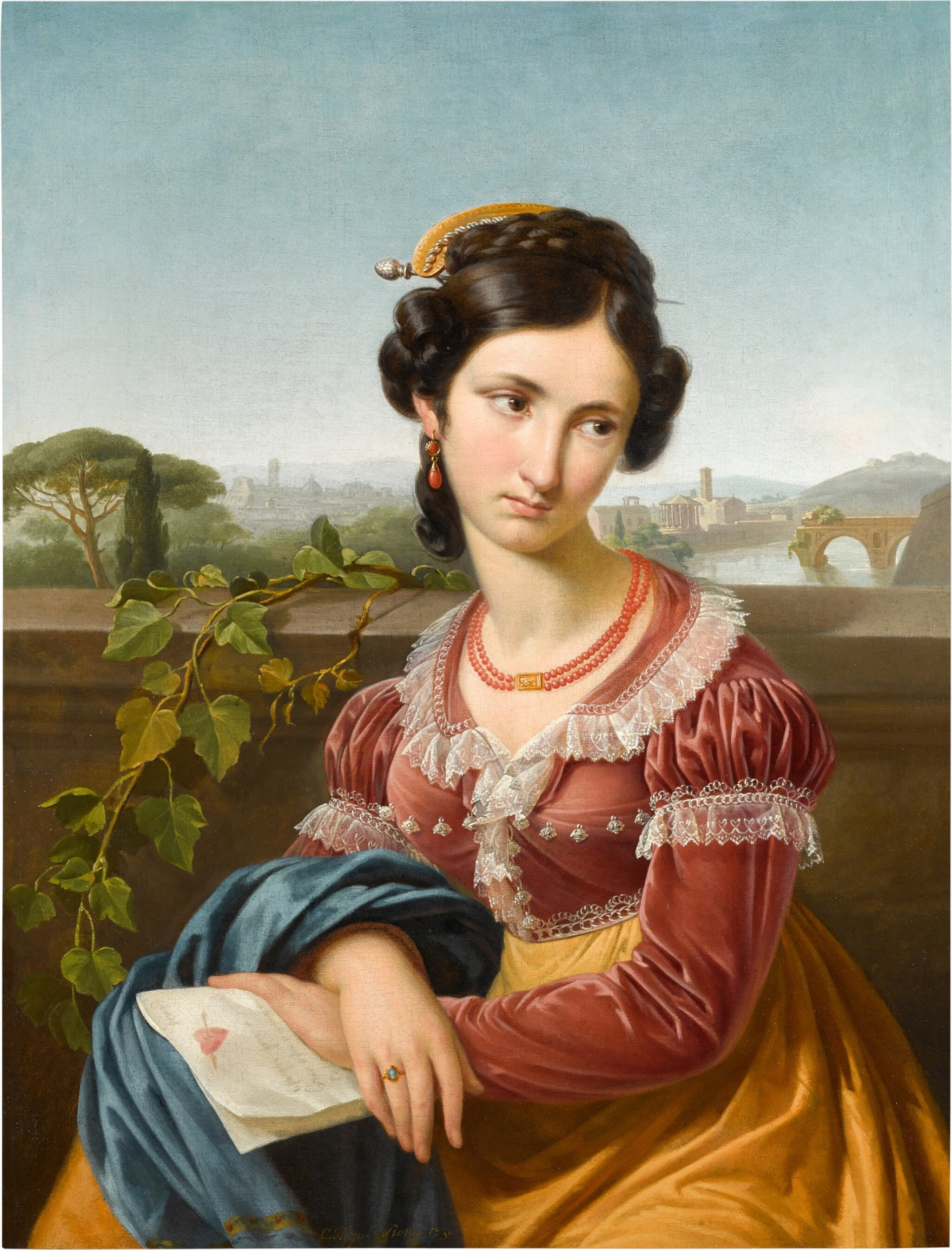 View full screen - View 1 of Lot 50. CHARLES PICQUE     PORTRAIT OF PAOLINA, SEATED HALF-LENGTH, BEYOND HER ROME AND THE TIBER.