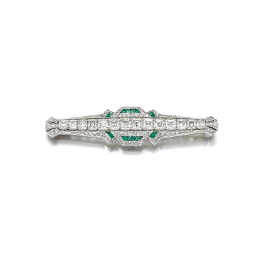 View 1. Thumbnail of Lot 1. EMERALD AND DIAMOND BROOCH, 1920S.