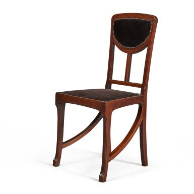 View 3. Thumbnail of Lot 160. A SET OF FOUR ART NOUVEAU MAHOGANY SIDE CHAIRS, CIRCA 1900, ATTRIBUTED TO EDOUARD DIOT, PROBABLY MADE BY MAISON DIOT OF PARIS.