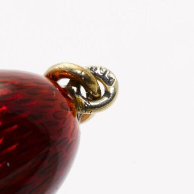 View 3. Thumbnail of Lot 15. A Fabergé jewelled gold and guilloché enamel egg pendant, Michael Perchin, St Petersburg, 1899-1903.
