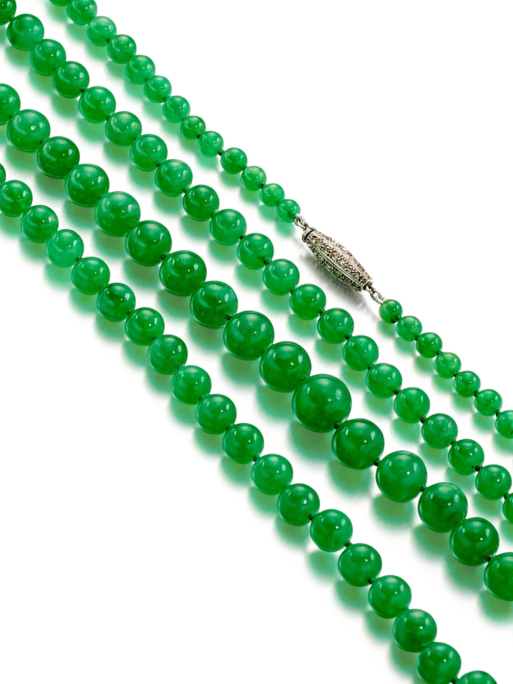 View full screen - View 1 of Lot 1684. Jadeite Bead and Diamond Necklace | 天然翡翠珠 配 鑽石 項鏈.