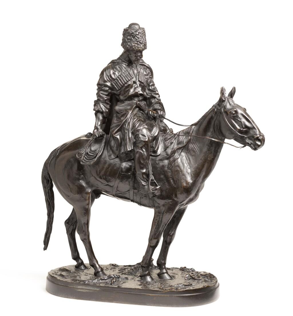 COSSACK ON HORSEBACK: A BRONZE FIGURAL GROUP, AFTER THE MODEL EVGENI LANCERAY (1848-1886)