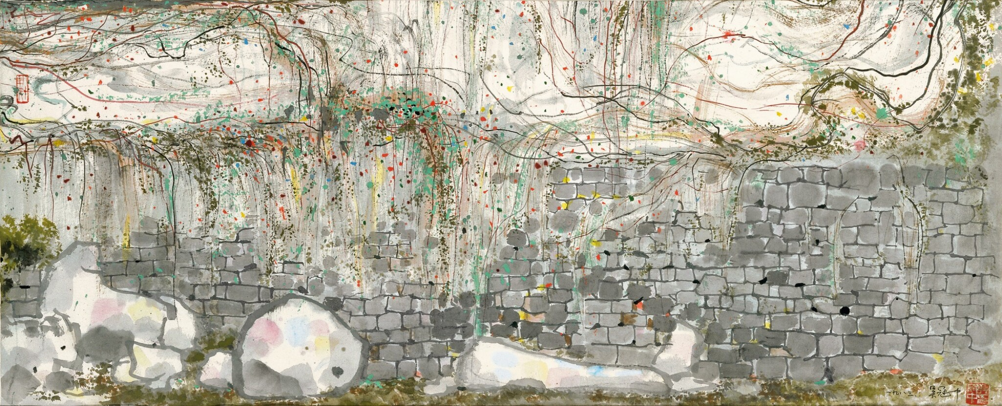 View full screen - View 1 of Lot 2622. Wu Guanzhong 吳冠中 | Climbing Vines on Wall 牆上春色.