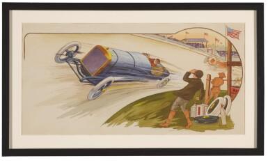 View 3. Thumbnail of Lot 1761. GAMY-MONTAUT   COUPE VANDERBILT / LE MATCH GABRIEL–LONG-ISLAND RAILROAD, AU PASSAGE A NIVEAU D'HICKSVILLE, [AND:] GRAND PRIX D'AMERIQUE, GOUX LE GAGNANT SUR PEUGEOT À INDIANAPOLIS (INDIANAPOLIS 500), 1911.