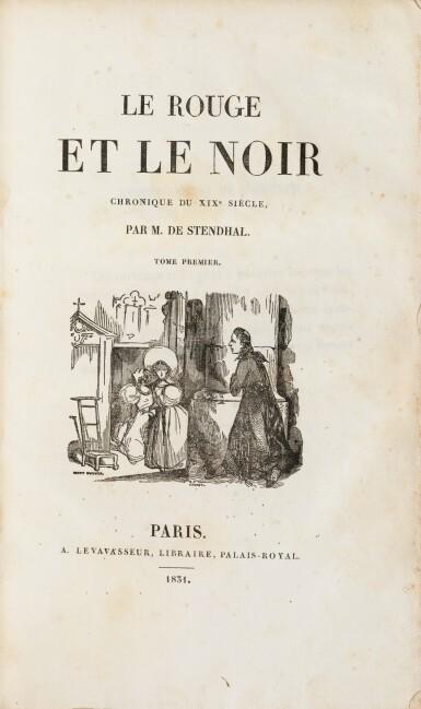 View 4. Thumbnail of Lot 176. Le Rouge et le noir. 2 vol. in-8 cartonnage de l'époque. Edition originale. Lettre de Stendhal jointe.
