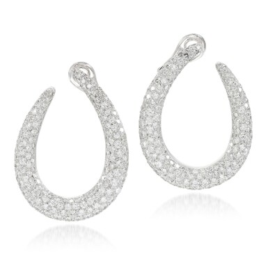 View 1. Thumbnail of Lot 53. Pair of diamond earrings.