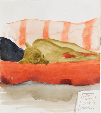 View 1. Thumbnail of Lot 639. DAVID HOCKNEY, R.A. | AUDREY ON THE SOFA.