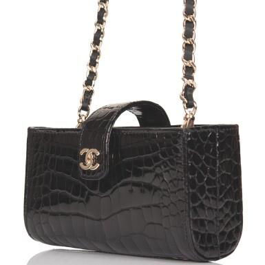 Chanel Black Shiny Alligator Mini Clutch with Light Gold Tone Hardware