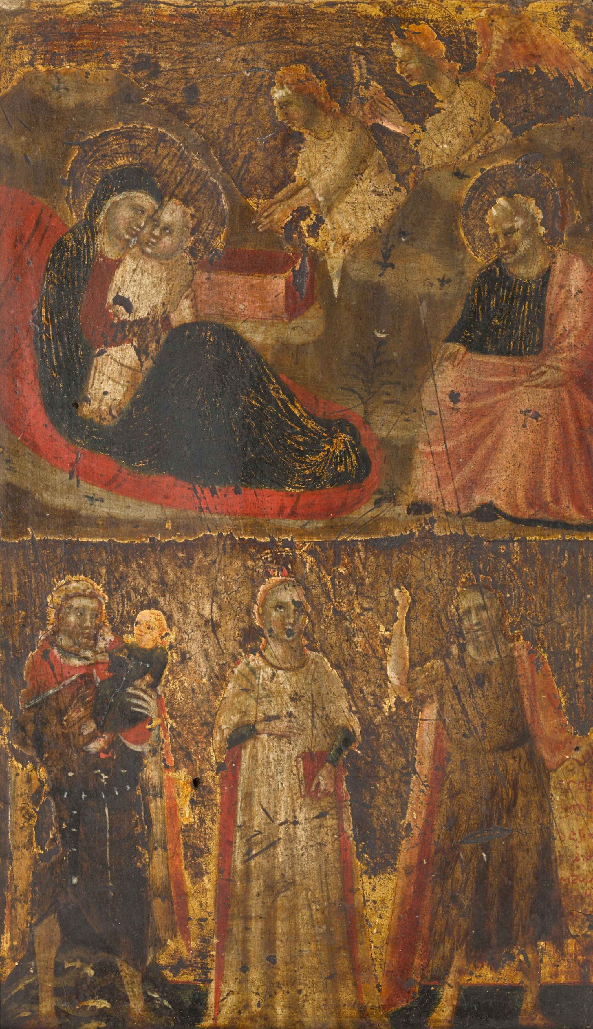 View full screen - View 1 of Lot 109. Riminese School, circa 1320 | The Nativity; Saint Christopher, Saint John the Baptist and a female saint.