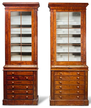 View 1. Thumbnail of Lot 216. A NEAR PAIR OF WILLIAM IV MAHOGANY MUSEUM CABINETS, CIRCA 1835.