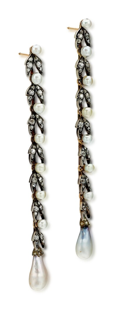 View 3. Thumbnail of Lot 9015. Natural Pearl and Diamond Earrings, 19th Century |  天然海水珍珠 配 鑽石 耳墜一對, 19世紀.