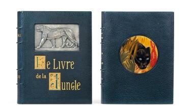 View 1. Thumbnail of Lot 128. Le Livre de la Jungle, 1919. Exceptionnel ex. avec laque de Dunand et plaque en argent de Jouve.