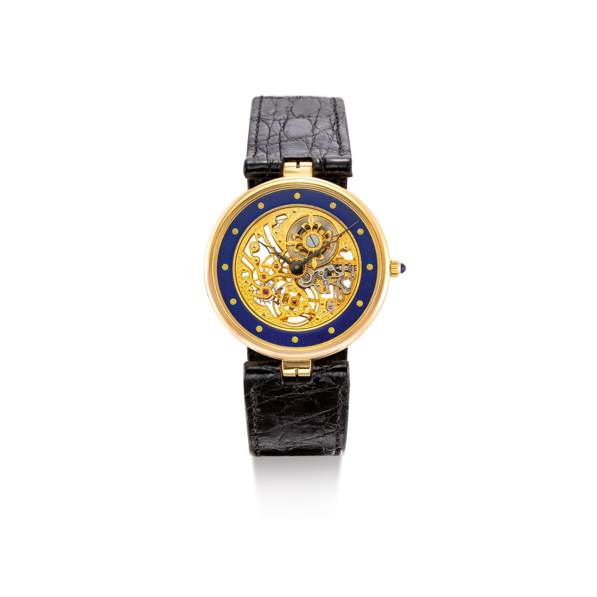 View full screen - View 1 of Lot 2101. PATEK PHILIPPE | REFERENCE 3885, A YELLOW GOLD AND ENAMEL SKELETONIZED WRISTWATCH, CIRCA 1991 |  百達翡麗 |  型號3885   黃金鑲琺瑯鏤空腕錶,機芯編號1389273,錶殼編號2300762,約1991年製.