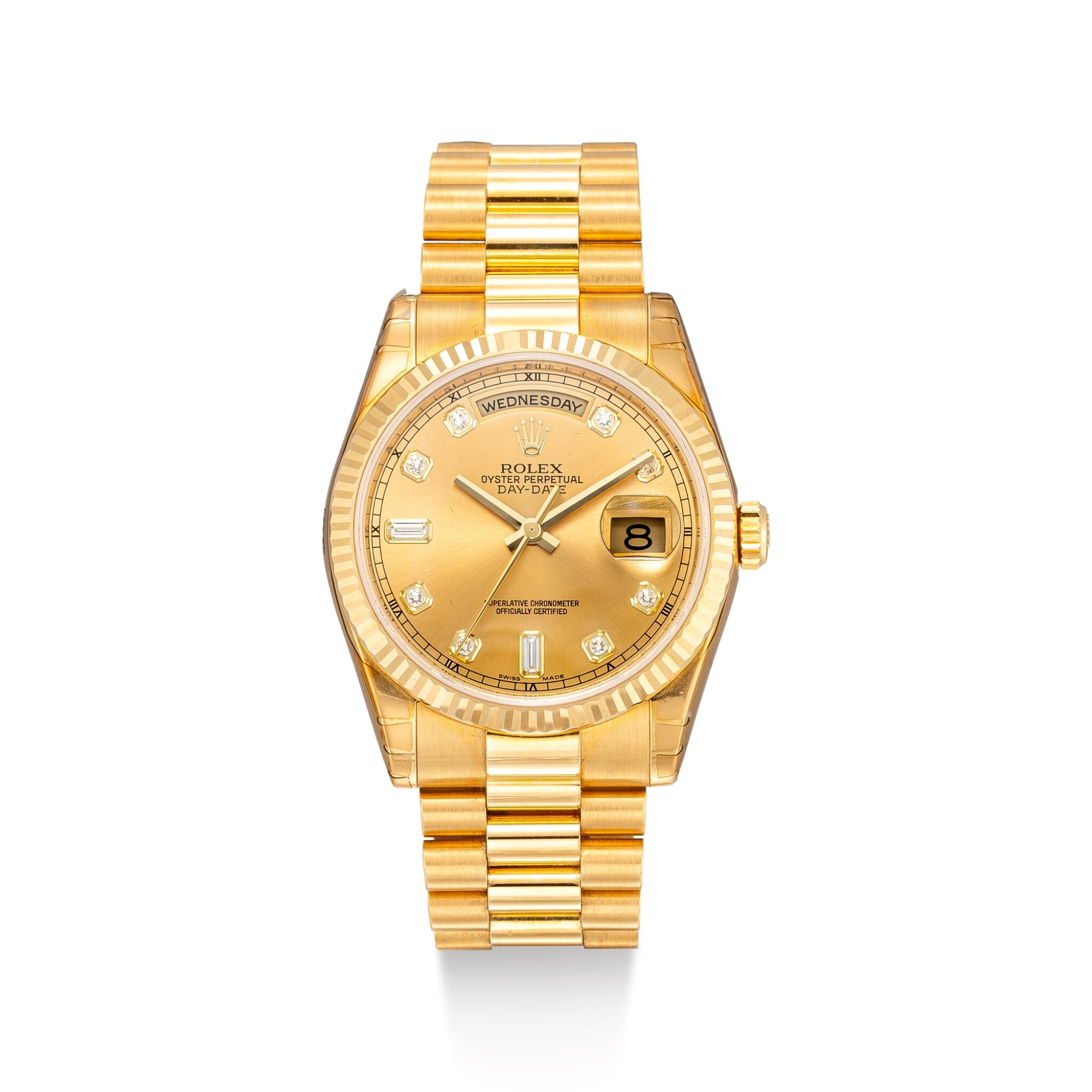 View full screen - View 1 of Lot 8068.  ROLEX | DAY-DATE, REFERENCE 118238 | A YELLOW GOLD AND DIAMOND-SET WRISTWATCH WITH DAY, DATE AND BRACELET, CIRCA 2005 | 勞力士 | Day-Date 型號118238 黃金鑲鑽石鏈帶腕錶,備日期及星期顯示,約2005年製.
