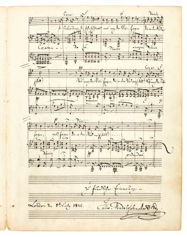 "View 1. Thumbnail of Lot 23. F. Mendelssohn Bartholdy. Autograph manuscript of the song 'Im Frühling' (""Ich hör' ein Vöglein locken""), London 1842."