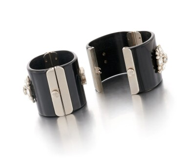 View 3. Thumbnail of Lot 172. Pair of black resin and rhinestone wide cuffs.