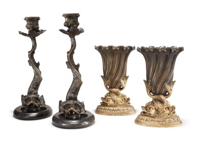 View 2. Thumbnail of Lot 91. A PAIR OF REGENCY STYLE CAST METAL DOLPHIN CANDLESTICKS ON MARBLE BASES, ALONG WITH A PAIR OF REGENCY STYLE GILT AND PATINATED BRONZE DOLPHIN VASES.