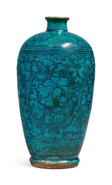 View 3. Thumbnail of Lot 1068. A TURQUOISE-GLAZED 'CIZHOU' 'FLORAL' MEIPING, YUAN / MING DYNASTY.