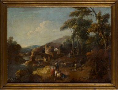 View 3. Thumbnail of Lot 98. A wooded river landscape with ruins and figures.