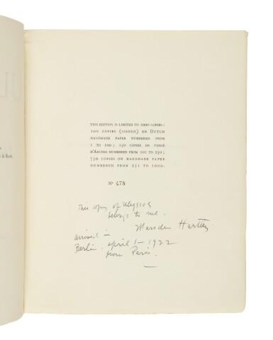 JAMES JOYCE   ULYSSES. PARIS: 1922; FIRST EDITION, MARSDEN HARTLEY'S COPY