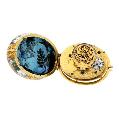 View 3. Thumbnail of Lot 131. An oval gold and polychrome enamel painted watch case with later custom-made movement  Case circa 1665-1675, movement circa 1760.