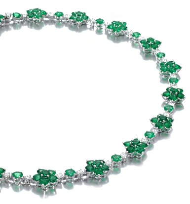View 2. Thumbnail of Lot 715. Graff | Emerald and diamond necklace | 格拉夫 | 祖母綠配鑽石項鏈.