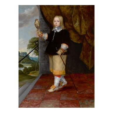 LUDOLF DE JONGH | PORTRAIT OF A YOUNG BOY, FULL LENGTH, HOLDING A KESTREL