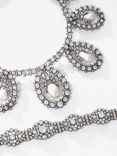 View 4. Thumbnail of Lot 180. Musy | Magnificent and Historic Natural pearl and diamond tiara/necklace, second half of the 19th century | Musy | 天然珍珠配鑽石王冠/項鏈,十九世紀下半葉,具歷史價值.