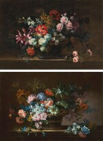 ANTOINE MONNOYER   Still life of peonies, carnations, poppies and other flowers in a bronze urn on a stone ledge; and Still life of chrysanthemums, jasmine, lilies and carnations in a wicker basket on a stone ledge
