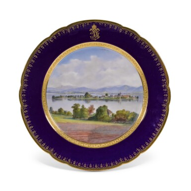 View 10. Thumbnail of Lot 106. An Imperial presentation set of twelve Hutschenreuther porcelain plates, circa 1890.