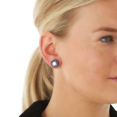 View 4. Thumbnail of Lot 306. GRAFF   PAIR OF SAPPHIRE AND DIAMOND EARRINGS.