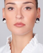 PAIR OF AMETHYST, DIAMOND AND MOTHER-OF-PEARL EAR CLIPS, MICHELE DELLA VALLE