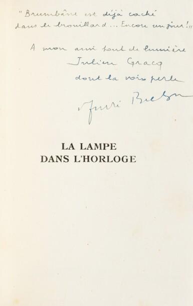 View 2. Thumbnail of Lot 226. La Lampe dans l'horloge. 1948. Ed originale. Envoi à Julien Gracq. Reliure de Fié.