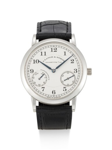 A. LANGE & SÖHNE | 1815 UP/DOWN, REFERENCE 221.025, A BRAND NEW PLATINUM WRISTWATCH WITH HACKING FEATURE AND POWER RESERVE INDICATION, CIRCA 2010