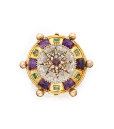 View 1. Thumbnail of Lot 48. GOLD AND GEM-SET PENDANT-BROOCH.
