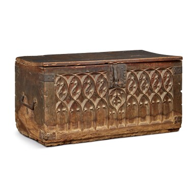 FRENCH GOTHIC CARVED WALNUT AND WROUGHT-IRON CHEST, CIRCA 1550