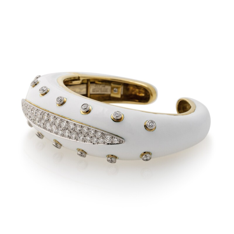 Diamond and Enamel Cuff-Bracelet