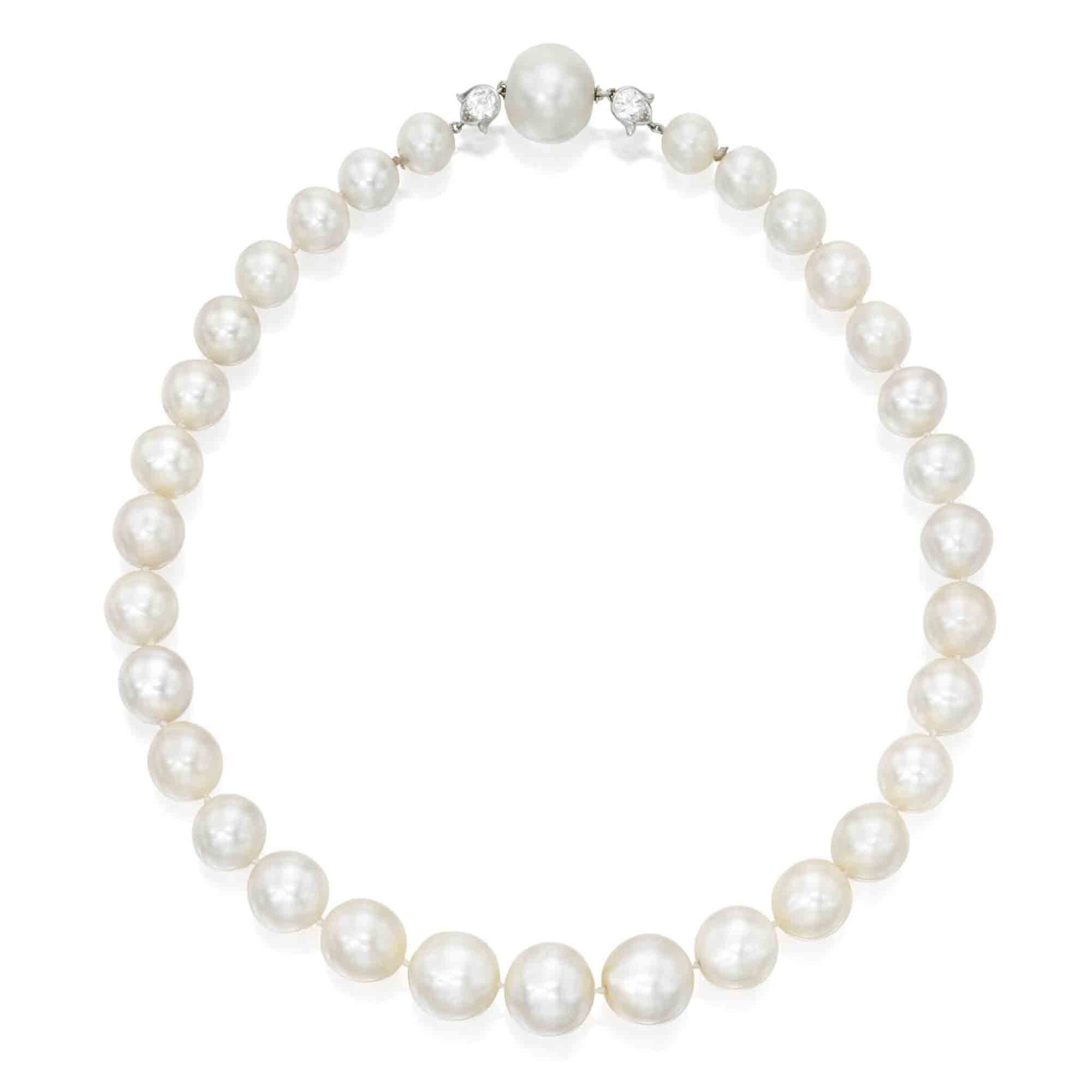 View full screen - View 1 of Lot 211. Cartier [卡地亞]   A Rare Natural Pearl and Diamond Necklace [罕有天然珍珠配鑽石項鏈].