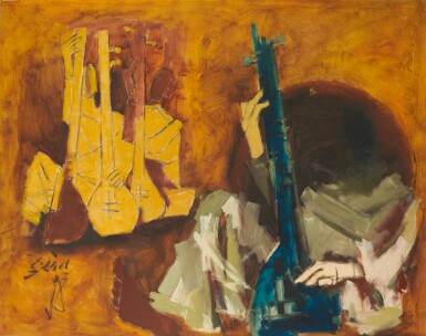 MAQBOOL FIDA HUSAIN | Untitled (Sitar Players)