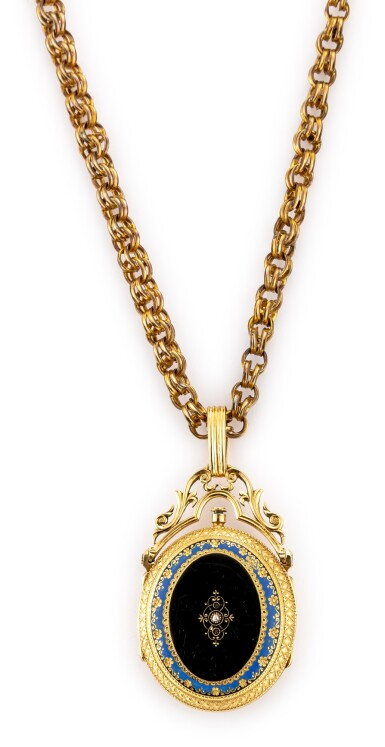 View 3. Thumbnail of Lot 4019. E. BRONNER | A GOLD, ENAMEL AND DIAMOND-SET HUNTING CASE KEYWOUND CYLINDER WATCH WITH ENAMEL DIAL AND GILT CHAIN, CIRCA 1860.