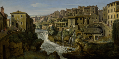 GASPAR VAN WITTEL, CALLED VANVITELLI    VIEW OF TIVOLI WITH THE OLD WATERFALL AND LEFT BANK OF THE RIVER ANIENE