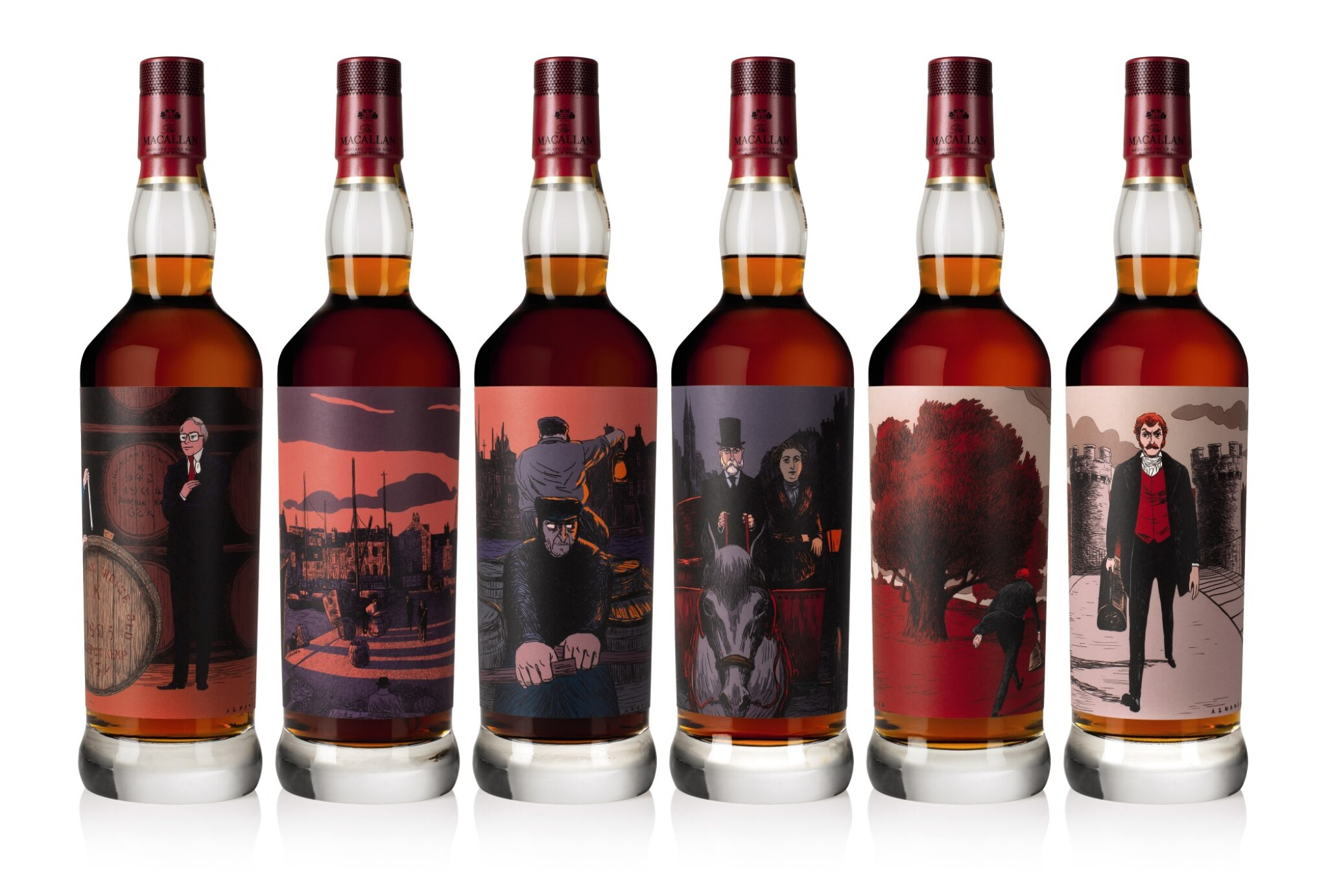 View 1 of Lot 1. The Macallan Red Collection with Exclusive Labels Illustrated by Javi Aznarez (6 bts 70cl).