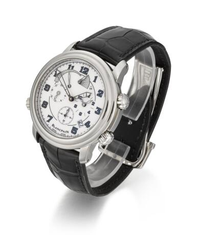 View 2. Thumbnail of Lot 28. BLANCPAIN | LEMAN GMT ALARM, REFERENCE 2041-1127M-53B STAINLESS STEEL DUAL-TIME WRISTWATCH WITH DATE, ALARM AND POWER RESERVE INDICATION, CIRCA 2007.