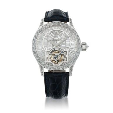 View 1. Thumbnail of Lot 59. L.U.C. Tourbillon, Ref. 171908-1001 Limited edition white gold and diamond-set tourbillon wristwatch with power reserve indication and total diamond weight of 22.95 carats Made in 2005 | 蕭邦171908-1001型號「L.U.C. Tourbillon」限量版白金鑲鑽石陀飛輪腕錶備動力儲存顯示,鑽石總重22.95克拉,2005年製.